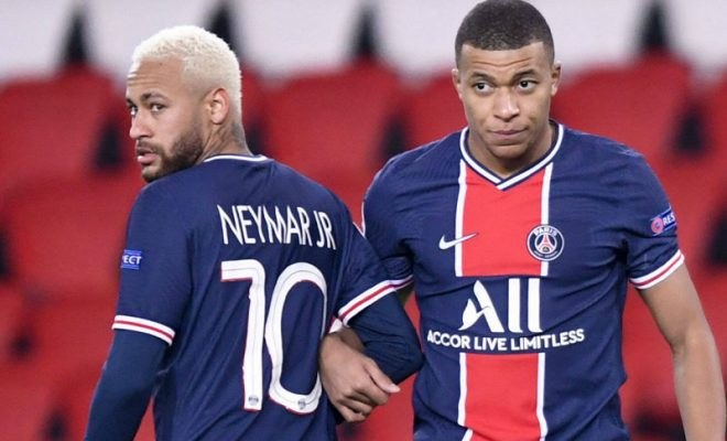 kylian mbappe bersaing dengan neymar